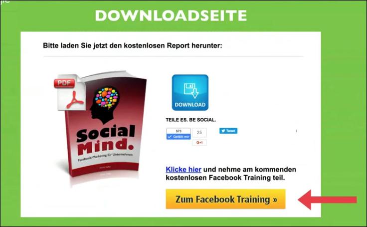 Facebook Sales Funnel Downloadseite