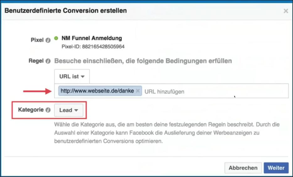 Facebook Sales Funnel - benutzerdefinierte Conversion